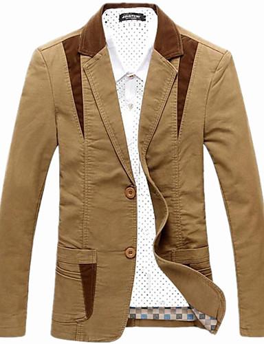 Bărbați Zilnic / Muncă Primăvară / Toamnă / Iarnă Mărime Plus Size Regular Blazer, Bloc Culoare Manșon Lung Bumbac / Acrilic Peteci Negru / Maro / Kaki 4XL / XXXXXL / XXXXXXL / Zvelt