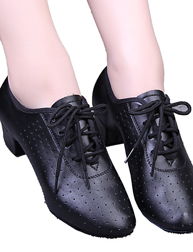 povoljno Cipele za ples-Žene Umjetna koža Moderna obuća / Standardni Vezanje / Pletena ljetna obuca Štikle Niska potpetica Crna / Crvena / EU39
