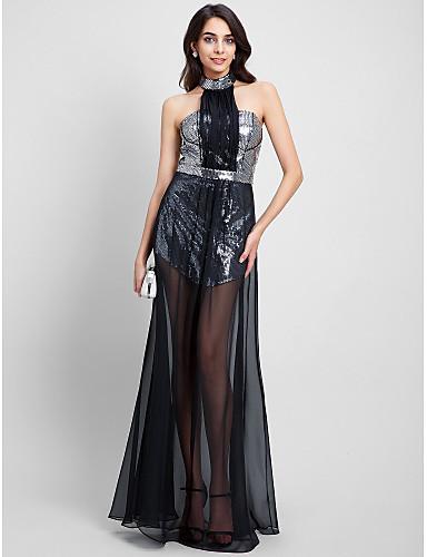 Kroj uz tijelo Na vezanje oko vrata Do poda Šifon Sa šljokicama Prom / Formalna večer Haljina s Šljokice po TS Couture®