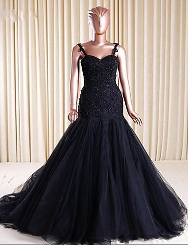 passe& Flakk spaghetti stropper domstol tog blonder tulle formell kveld kjole med beading applikasjoner