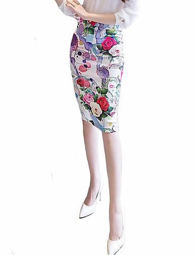 Mujer Tallas Grandes Corte Bodycon Faldas - Separado Estampado, Floral