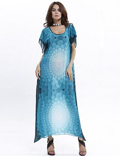 I Colour Dame V-hals 1/2 Erme Lengde Maxi Kjoler-522687982463