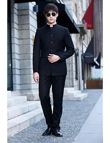 חליפות גזרה צרה Mandarin Collar Single Breasted More-button פוליאסטר מוצק שני חלקים כיס ישר ללא (חלק קדמי שטוח) שחור ללא (חלק קדמי שטוח)