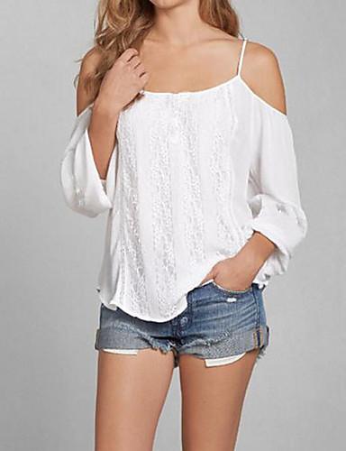 Tee-shirt Femme,Couleur Pleine Décontracté / Quotidien Sexy simple Eté Manches Longues A Bretelles Polyester Moyen