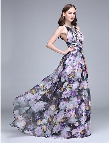 Eng anliegend Halter Pinsel Schleppe Chiffon Offener Rücken Abiball Kleid mit Muster / Druck / Überkreuzte Rüschen durch TS Couture®