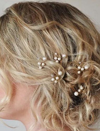 abordables Demoiselles d'Honneur-Perle / Cristal Coiffure / Bâton de cheveux / Épingle à cheveux avec Fleur 1pc Mariage / Occasion spéciale Casque