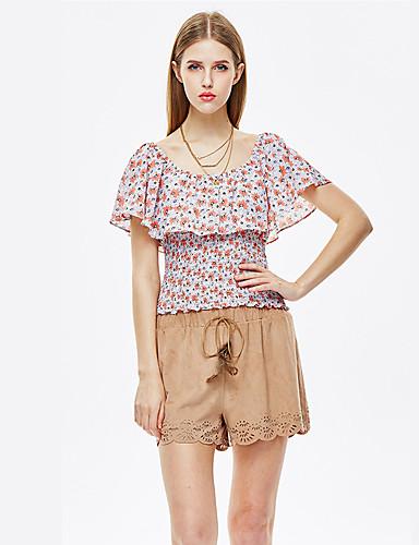 Kortærmet Rund hals Blank Kvinders Orange Blomstret Sommer Boheme Strand T-shirt,Andet