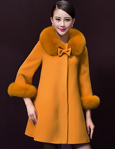 Women's Party Solid Winter Coat Round Neck Long Sleeve Fur Trim
