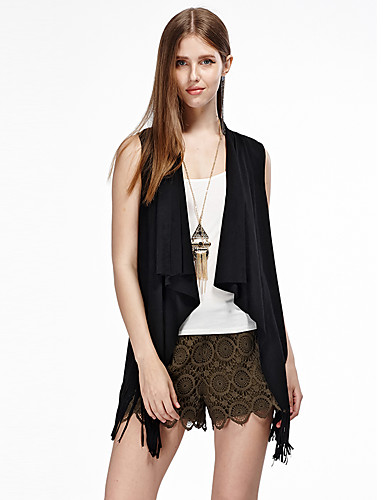 mulheres heartsoul de sair jaquetas simples verão, sólida em torno do pescoço preto sem mangas / marrom algodão / poliéster / spandex fina