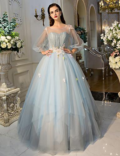 Ballkleid Prinzessin Illusionsausschnitt Boden-Länge Tüll Formeller Abend Kleid mit Kristall Verzierung Spitze Blume Seitlich drapiert