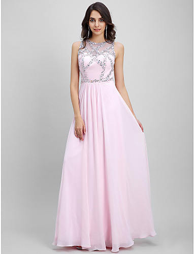 Sheath / Column Illusion Neckline Floor Length Chiffon Prom / Formal Evening Dress with Beading by TS Couture®
