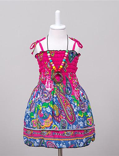 שמלה פוליאסטר קיץ ללא שרוולים יומי הילדה של פוקסיה
