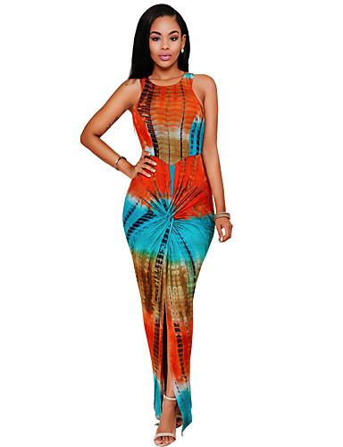 Damen Bodycon Kleid-Strand Boho Druck Rundhalsausschnitt Maxi Ärmellos Orange Kunstseide / Polyester / Elasthan Sommer