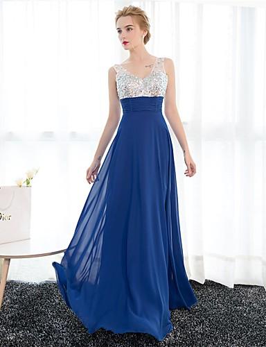 Eng anliegend V-Ausschnitt Boden-Länge Satin Tüll Pailletten Formeller Abend Kleid mit Kristall Verzierung durch Embroidered Bridal