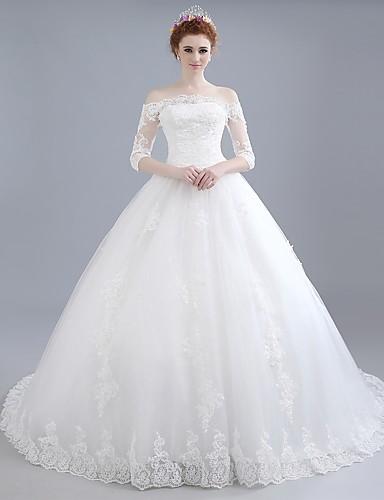 נשף סירה מתחת לכתפיים שובל כנסייה (צ'אפל) תחרה / סאטן / טול שמלות חתונה עם תחרה על ידי LAN TING BRIDE®
