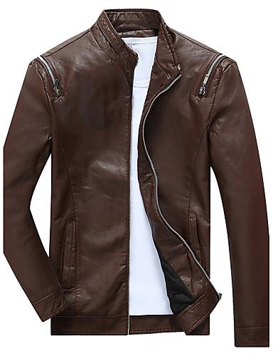 Herren Solide Einfach Lässig/Alltäglich Lederjacken,Ständer Winter Herbst Langärmelige Standard Kunstseide Polyester
