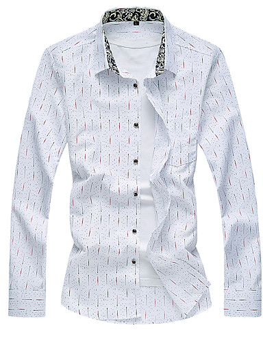 Menn Fritid / Plusstørrelse Trykk Skjorte,Bomull / Polyester Langermet Blå / Hvit
