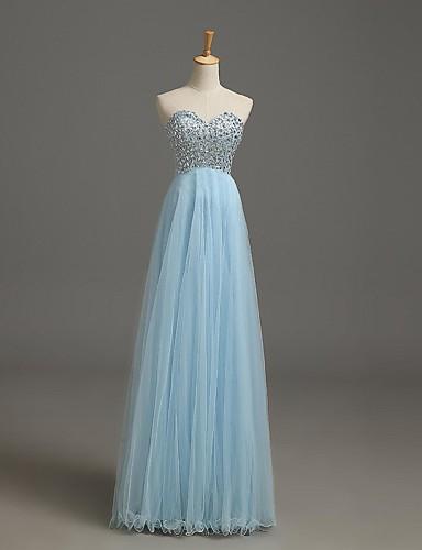 A-line kæreste gulvlængde tulle formelle aften kjole med perle