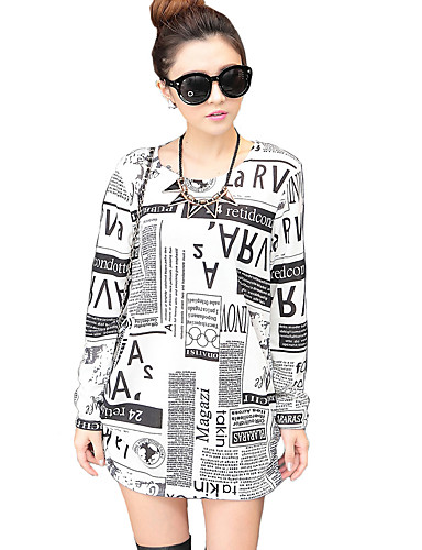 Dames Street chic Herfst T-shirt,Dagelijks Letter Ronde hals Lange mouw Kasjmier Medium