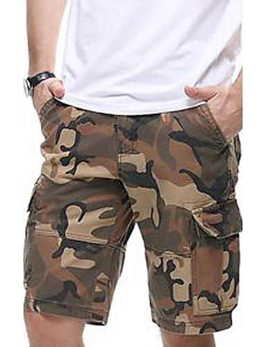 camouflage Mænds Fritid Shorts Bomuld Gul / Grå