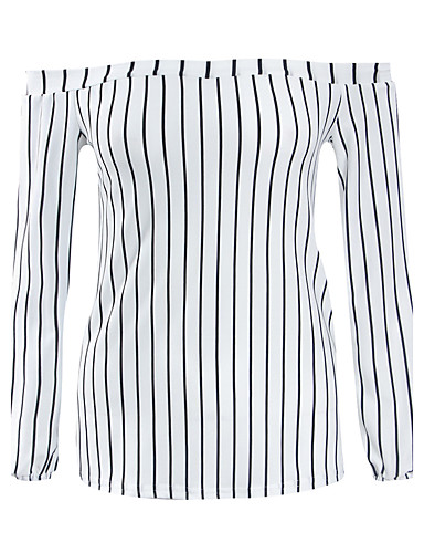 Dames Eenvoudig Street chic Lente Herfst T-shirt,Casual/Dagelijks Gestreept Boothals Lange mouw Polyester Medium