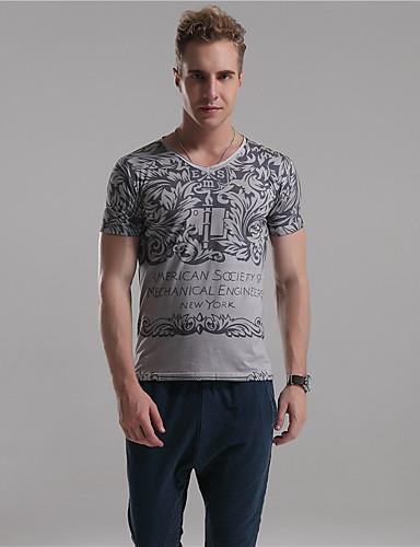 Mr D® Herre V-hals Kort Erme T skjorte Brun / Beige / Mørkegrå-3