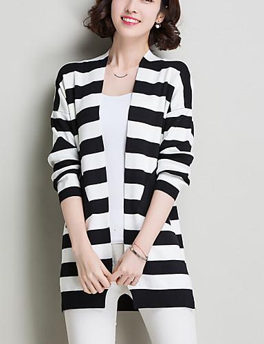 Dames Casual/Dagelijks Street chic Normaal Vest Gestreept-Blauw Zwart V-hals Lange mouw Wol Herfst Medium Micro-elastisch