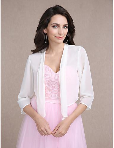 ราคาถูก ผ้าคลุมสำหรับชุดแต่งงาน-แขนยาว ชิฟฟอน งานแต่งงาน / Party / Evening ห่อแต่งงาน กับ โค้ท / แจ๊คเก็ต
