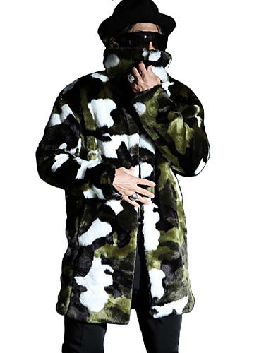 Langærmet Herre camouflage Vinter Afslappet/Hverdag Plusstørrelser Trenchcoat,Imiteret pels