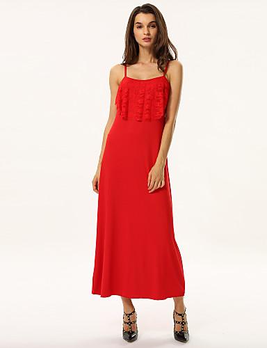 Жен. Пляж  Свободный силуэт Платье - Однотонный, С кисточками С высокой талией На бретелях Макси