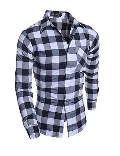 Menn Fritid / Formelt Ruter Skjorte,Bomull Langermet Flerfarget