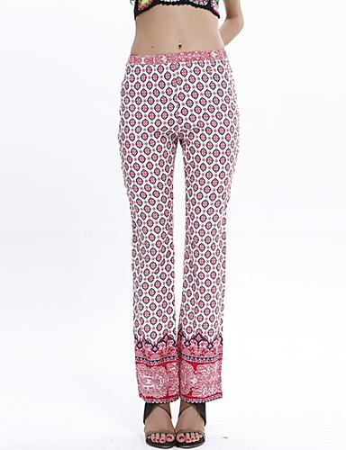 Kvinders Boheme Straight Bukser Uelastisk Bomuld / Polyester
