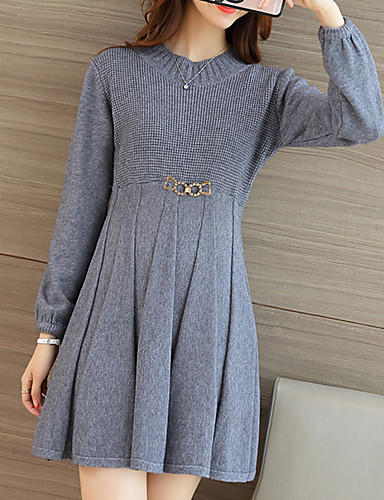 Corte Ancho Vestido Simple,Un Color Escote Redondo Sobre la rodilla Manga Larga Beige / Negro / Gris Poliéster Otoño Tiro Medio