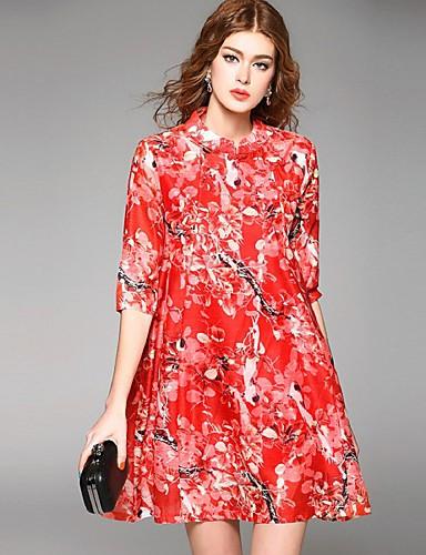 Kvinders Street Casual/hverdag Løstsiddende Kjole Blomstret,Høj krave Over knæet 1/2 ærmelængde Rød Polyester Sommer