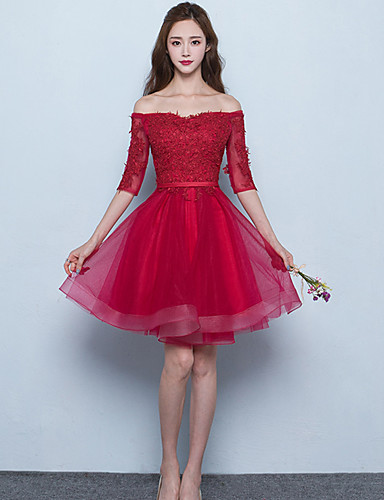 cheap Short Bridesmaid Dresses-A-Line Off Shoulder Short / Mini Tulle Bridesmaid Dress with Sash / Ribbon by LAN TING BRIDE®