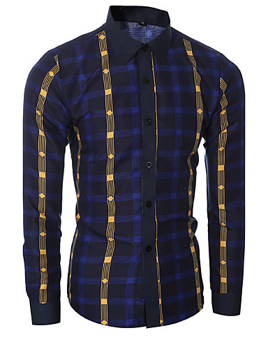 Ruitjes-Informeel / Formeel-Heren-Katoen-Overhemd-Lange mouw-Blauw / Rood