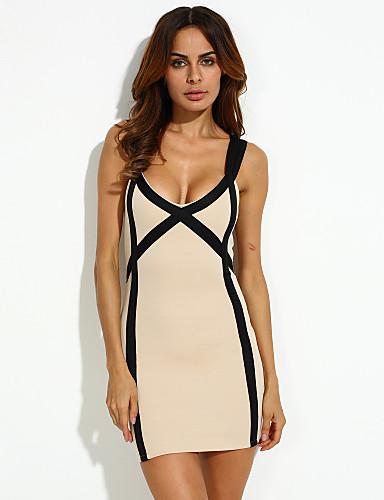 여성용 바디콘 드레스 - 체크무늬, 크리스-크로스 무릎 위 딥 V