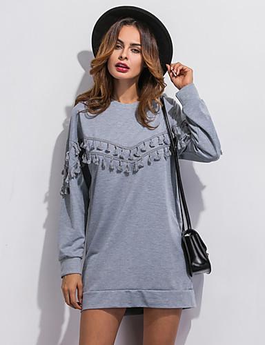 Dames Eenvoudig Street chic Casual/Dagelijks Sweatshirt Patchwork Kwastje Ronde hals Micro-elastisch Polyester Lange mouw Lente Herfst