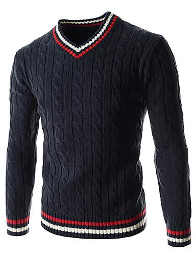 Herre Uld Sport Pullover - Stribet