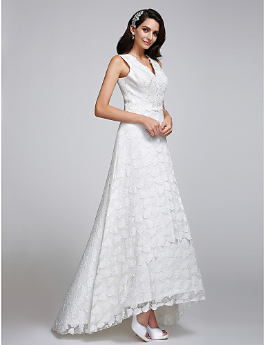 A-Line V-neck Asymmetrical Lace Wedding Dress with Lace by LAN TING BRIDE®