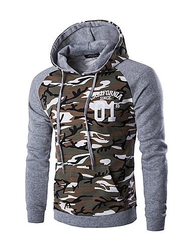 Langærmet camouflage Mænds Sport Hættetrøjer og trøjer Bomuld / Polyester Brun / Grå