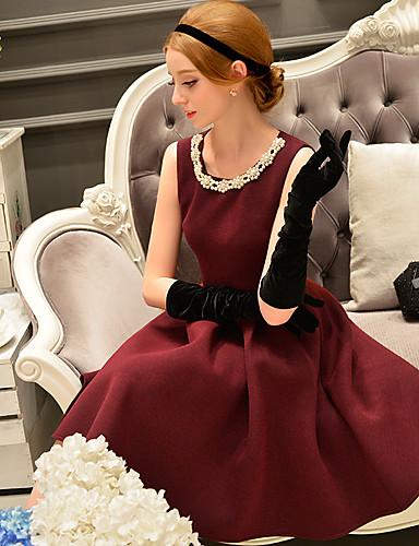 Mulheres Bainha / Pequeno preto / Rodado Vestido,Happy-Hour / Formal / Festa/Coquetel Sensual / Vintage / Sofisticado SólidoDecote