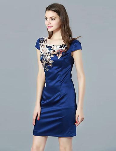 Shift Dress Fritid/hverdag Vintage Kvinner,Trykt mønster Rund hals Ovenfor knéet Kortermet Blå Polyester Sommer