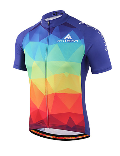 cheap Cycling Clothing-Miloto Men's Women's Short Sleeve Cycling Jersey - Blue+Red Gradient Plus Size Bike Shirt Sweatshirt Jersey Breathable Quick Dry Reflective Strips Sports 100% Polyester Mountain Bike MTB Road Bike