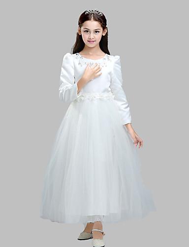 De Baile Até o Tornozelo Vestido para Meninas das Flores - Algodão Cetim Tule Decorado com Bijuteria com Apliques Detalhes em Cristal
