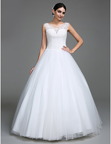 De Baile Princesa Longo Tule Vestido de casamento com Miçangas Botão de LAN TING BRIDE®