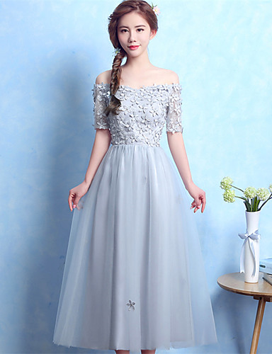 Kjole kjole off-the-shoulder te længde satin tulle prom formelle aften kjole med applikationer