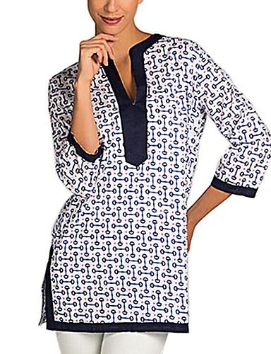 Nais- ¾ hiha Keskipaksu V kaula-aukko Polyesteri Kevät Vintage Rento/arki T-paita,Painettu Sininen