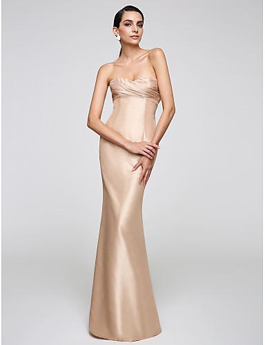 Trompet / Deniz Kızı Kalp Yaka Yere Kadar Tafta Resmi Akşam Elbise ile Yan Drape tarafından TS Couture®