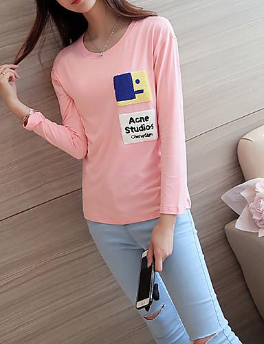 Damen Druck Einfach / Street Schick Ausgehen / Lässig/Alltäglich T-shirt,Rundhalsausschnitt Frühling / Herbst LangarmRosa / Weiß /